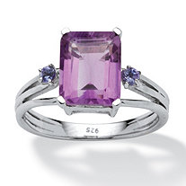 3.01 TCW Emerald-Cut Amethyst and Tanzanite Accented Ring in Platinum over Sterling Silver