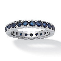 2.76 TCW Round Sapphire Eternity Ring in Platinum over Sterling Silver