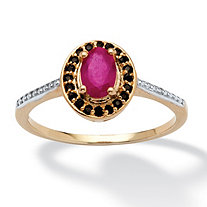 .60 TCW Oval-Cut Ruby and Black Spinel Ring in 14k Gold Over Sterling Silver