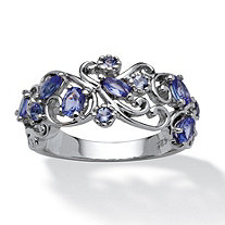 .83 TCW Oval-Cut Tanzanite Scroll Ring in Platinum over Sterling Silver