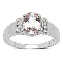 1.33 TCW Oval-Cut Morganite Ring With Diamond Accents in Platinum over Sterling Silver.