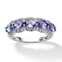 1.13 TCW Oval-Cut Tanzanite and White Topaz Ring in Platinum over Sterling Silver