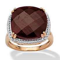 5.30 TCW Cushion-Cut Ruby Ring in 14k Gold over Sterling Silver