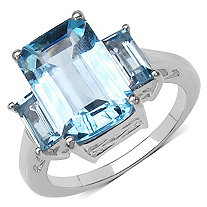 8.80 TCW Emerald-Cut Blue Topaz Ring in Platinum over Sterling Silver