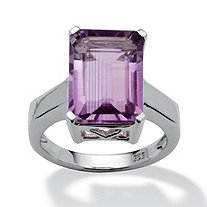 7.25 TCW Emerald-Cut Amethyst Ring in Platinum over Sterling Silver