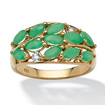 1.67 TCW Marquise-Cut Emerald and White Topaz Accented Ring in 14k Gold over Silver