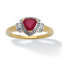 1.08 TCW Trilliant-Cut Ruby and White Topaz Accented Ring in 14k Gold over Sterling Silver