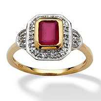 1.33 Emerald-Cut Ruby and White Topaz Accented Ring in 14k Gold over Sterling Silver