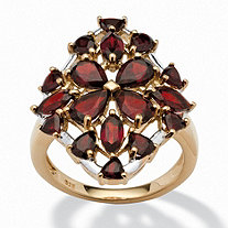 4.80 TCW Pear-Cut Garnet Flower Ring in 14k Gold over Sterling Silver