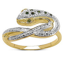 1/2 TCW Green Diamond and Diamond Pave Serpent Ring in 14k Gold over Sterling Silver