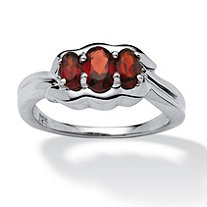 1.05 TCW Oval-Cut Garnet Ring in Platinum over Sterling Silver