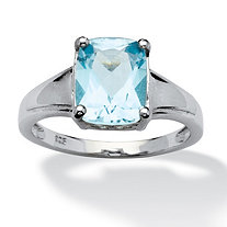 3.20 TCW Oval-Cut Blue Topaz Solitaire Ring in Platinum over Sterling Silver