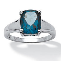 3.20 TCW Oval-Cut London Blue Topaz Solitaire Ring in Platinum over Sterling Silver