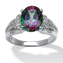 3.76 TCW Oval-Cut Fire Topaz and White Topaz Accented Ring in Platinum over Sterling Silver
