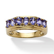 .84 TCW Oval-Cut Tanzanite Ring in 14k Gold Over Sterling Silver