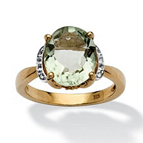 4.70 TCW Oval-Cut Green Amethyst and White Topaz Accented Ring in 14k Gold over Sterling Silver