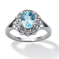 1.84 TCW Oval-Cut Blue Topaz and White Topaz Accented Ring in Platinum over Sterling Silver