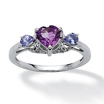 1.04 TCW Heart-Cut Amethyst and Tanzanite, White Topaz Accented Ring Platinum over Sterling Silver