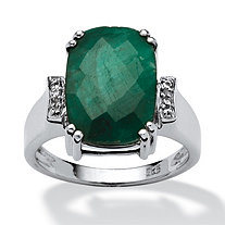 4.86 TCW Cushion-Cut Emerald and White Topaz Accented Ring in Platinum over Sterling Silver