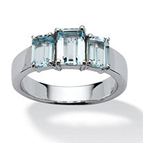 2.55 TCW Blue Topaz Ring in Platinum over Sterling Silver