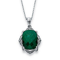 11.25 TCW Cushion-Cut Emerald and White Topaz Pendant Necklace in Platinum over Sterling Silver 18""