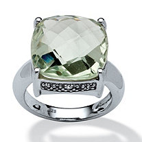 12.10 Cushion-Cut Green Amethyst and White Topaz Accented Ring in Platinum over Sterling Silver