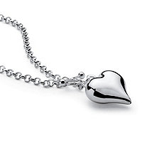 Puffed Heart Toggle Necklace in Sterling Silver 18