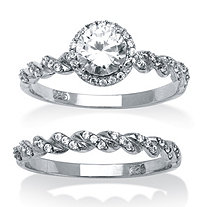 2 Piece 1.26 TCW Round Cubic Zirconia Halo Twist Bridal Ring Set in Platinum over Sterling Silver