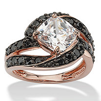 2.45 TCW Cushion-Cut Cubic Zirconia and Black CZ Ring in Rose Gold Over Sterling Silver