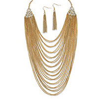 2 Piece Multi-Chain Jewelry Necklace and Earrings Set in Yellow Gold Tone