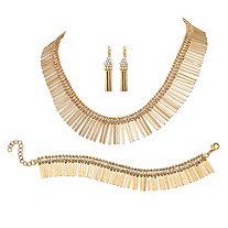 3 Piece Set Spray Jewelry Set in Yellow Gold Tone