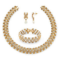 3 Piece Simulated Pearl and Crystal Jewelry Set in Goldtone