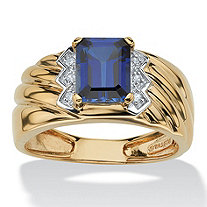 Men's 1.90 TCW Emerald-Cut Sapphire and Diamond Accent Ring in 18k Gold over Sterling Silver