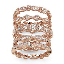1.55 TCW Cubic Zirconia 5 Piece Eternity Band Set in Rose Gold-Plated