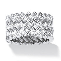 9.66 TCW Cubic Zirconia Chevron Baguette Ring in Platinum over Sterling Silver