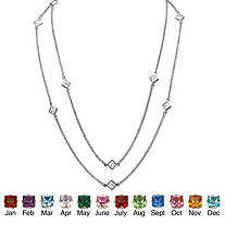 Birthstone Station Necklace in Silvertone