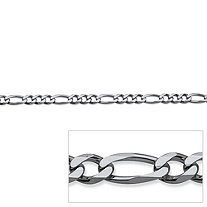 Figaro Link Chain in Sterling Silver 18""