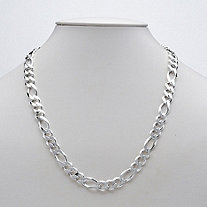 Figaro Link Bracelet in Sterling Silver 8 1/2