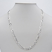 Figaro Link Chain in Sterling Silver 22""