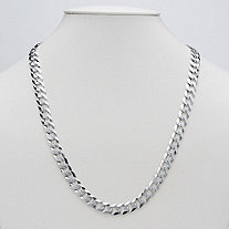 Curb Link Necklace in Sterling Silver 22