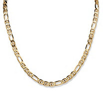 Figaro Link Necklace in 18k Gold over Sterling Silver 22""