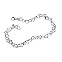 Heart Link Ankle Bracelet in Sterling Silver 9 1/2""