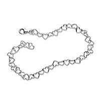 Heart Link Ankle Bracelet in Sterling Silver 9 1/2