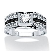 Men's .91 TCW Round Cubic Zirconia and Micro-Pave Ring in Platinum over Sterling Silver