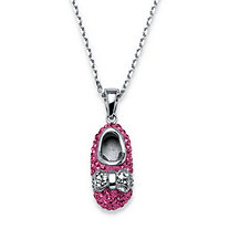Pink Shoe Pendant Necklace Made With SWAROVSKI ELEMENTS in Sterling Silver