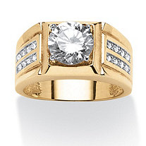 Men's 1.89 TCW Round Cubic Zirconia Ring in 18k Gold over Sterling Silver