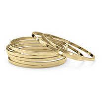 Set of 7 Bangle Bracelets in Yellow Gold Tone