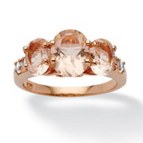 .24 TCW Cubic Zirconia and Oval-Cut Simulated Morganite Ring in Rose Gold over Sterling Silver