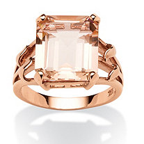 Emerald-Cut Blush Crystal Ring in Rose Gold over Sterling Silver