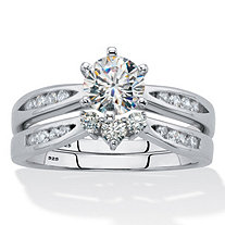 2 Piece 1.22 TCW Cubic Zirconia Bridal Ring Set in Sterling Silver